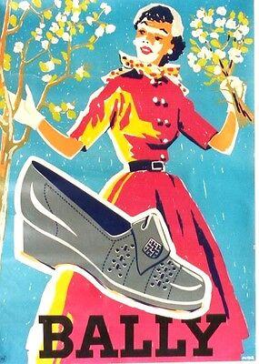 Original vintage poster BALLY SHOES SPRING FASHION 1950