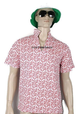 Fear and Loathing In Las Vegas Raoul Duke RED PATTERN SHIRT HAT GLASSES - Raoul Duke Costume