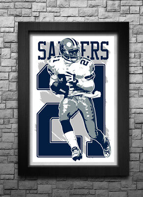 c6ae8680 DEION SANDERS art print/poster DALLAS COWBOYS FREE S&H! JERSEY