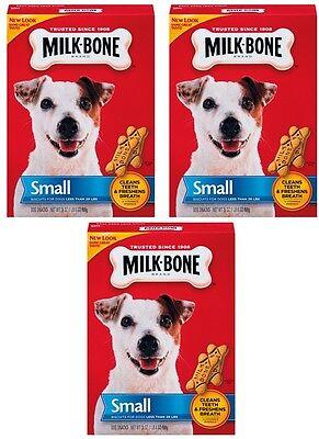 (3) boxes 7910090202 24oz Small MILK-BONE MILK BONE DOG BISCUIT TREATS SNACK