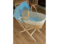 Clair de Lune moses basket with bedding and bouncer chair