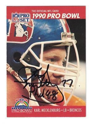 (Karl Meckhenburg Signed Autographed 1990 Pro Set Card Denver Broncos)