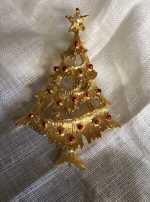 """Vintage Signed Gerrys Gold Tone Christmas Tree Brooch Pin 2"""" KH-39"""