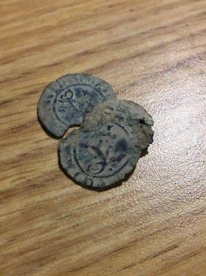 """Cob Pirate Treasure Coin Medieval 1600s Spanish /""""Lion /& Castle/"""" Copper 8 M"""