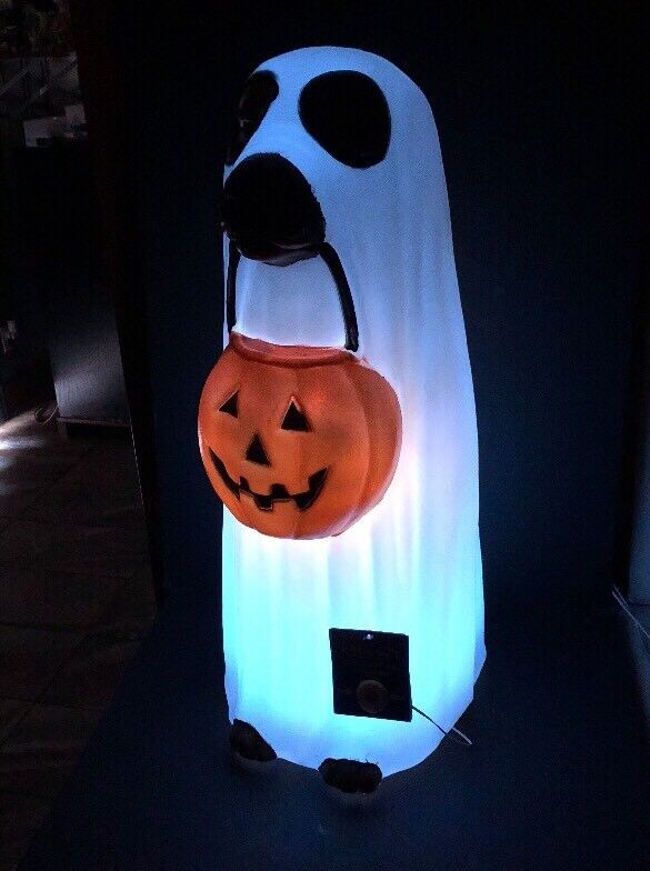 Dog Ghost Pumpkin Mouth Changes Colors BLUE RED LED Blow Mold Lighted Halloween
