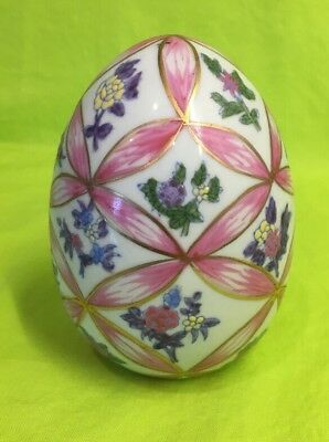 "Vintage Chinese Porcelain Egg. About 4-3/4"" Tall . Floral Design. Age Unknown"