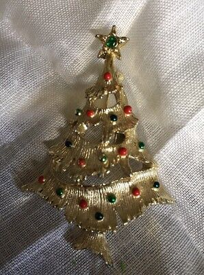 """Vintage Signed Gerrys Gold Tone Christmas Tree Brooch Pin 2"""" PC-33"""