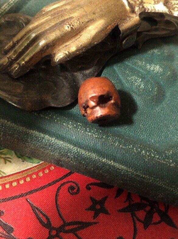 Rare Antique Georgian Wood Skull Rosary Bead Memento Mori Mourning
