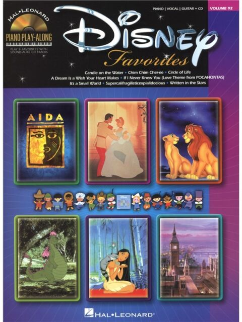 Play-Along Disney Favorites Learn Songs Tunes Piano Vocal Guitar MUSIC BOOK & CD