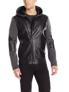 GUESS Men's Mix Media Hooded Jacket- Small