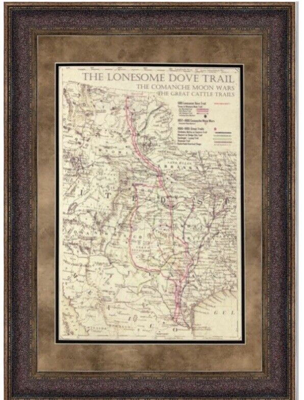 """ANTIQUE TEXAS MAP FRAMED """"The Lonesome Dove~Comanche Moon~Great Trails"""" New!"""