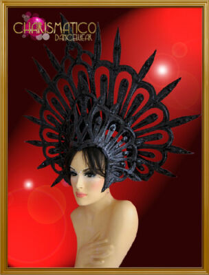 CHARISMATICO Evil halo styled glitter covered black spiky Gothic diva's headdres