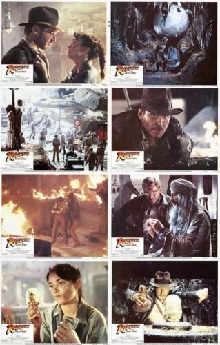 INDIANA JONES:RAIDERS OF THE LOST ARK Lobby Cards (1981) Set of 8 11 x 14 Inches