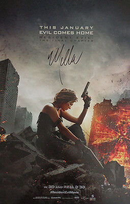 Autographed   Resident Evil  The Final Chapter   Movie Poster   Coa