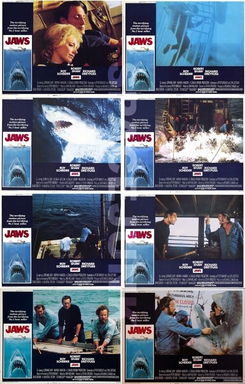 JAWS Lobby Cards (1975) Set of 8 (11 x 14 Inches Version) LIMITED OFFER!!