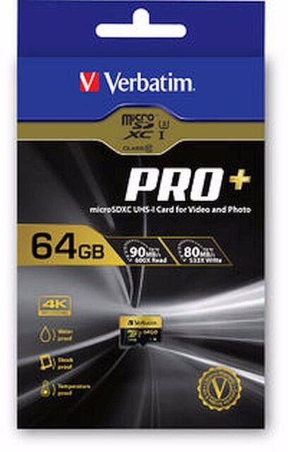 (Free Express Post) Genuine Verbatim GO Pro+ Micro SDHC Card 64GB #44034