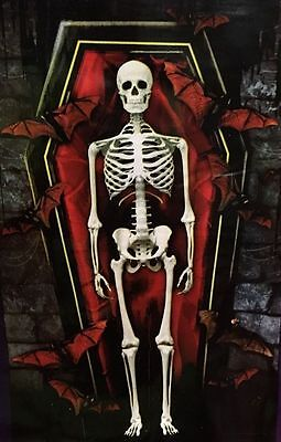 Vampire Themed Halloween Party (42x72 BATS In CRYPT w/VAMPIRE SKELETON COFFIN Theme Party Wall Decoration)