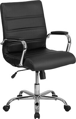 Mid-back Black Leather Conference Room Swivel Chair With Chrome Arms