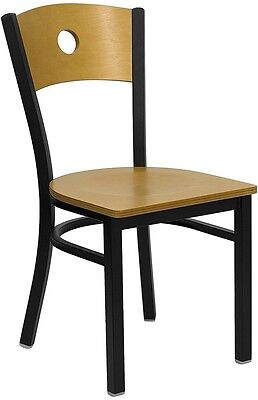Black Circle Back Metal Restaurant Chair - Natural Wood Back And Seat