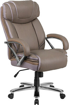 Big Tall Taupe Leather Executive Office Chair Extra Wide Seat 500 Lbs Capacity