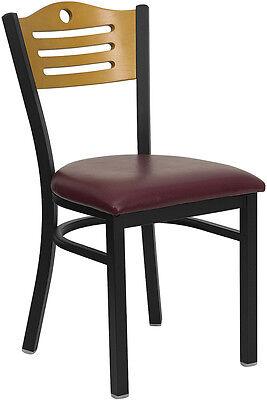 Metal Restaurant Chair With Wood Slat Back Design Burgundy Vinyl Seat