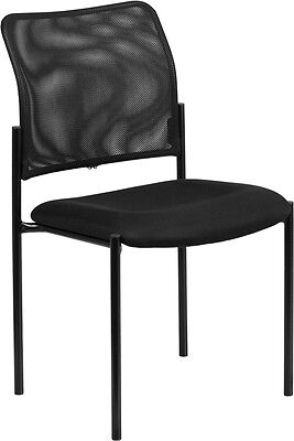 Black Mesh Comfortable Stackable Guest Side Chair - Reception Office Chair