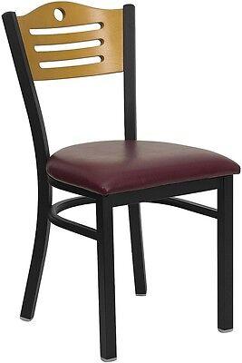 Black Slat Back Metal Restaurant Chair - Natural Wood Backburgundy Vinyl Seat