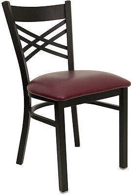 New Restaurant Metal Chairs Cross Back Vinyl Padded Seat They Last Forever