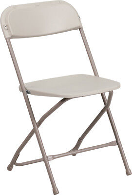 100 Pack 650 Lbs Capacity Commercial Quality Plastic Folding Chairs In Beige