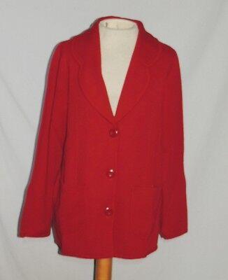 Nina Leonard Dark Cranberry Red Heavy Knit Sweater Jacket NWT sz xs (Medium)