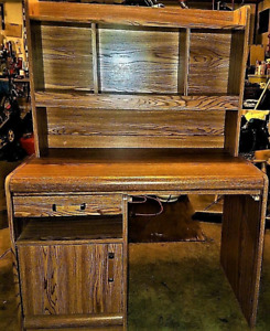 DESK WITH HUTCH AND BACK LIGHT