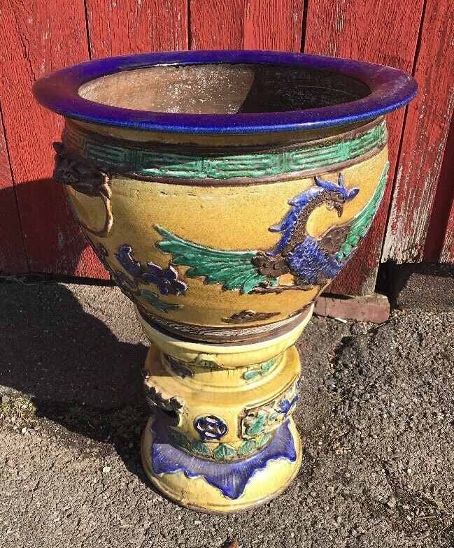 Vintage 20th Cantury Chinese Planter And Pedestal Yellow With Dragon & Phoenix