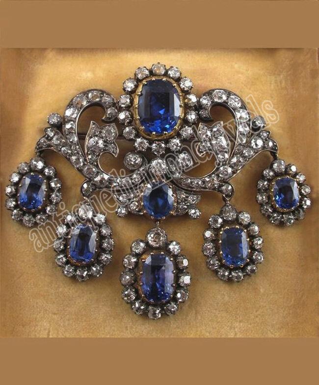 4.85ct ROSE CUT DIAMOND BLUE SAPPHIRE .925 SILVER / WEDDING ANNIVERSARY BROOCH