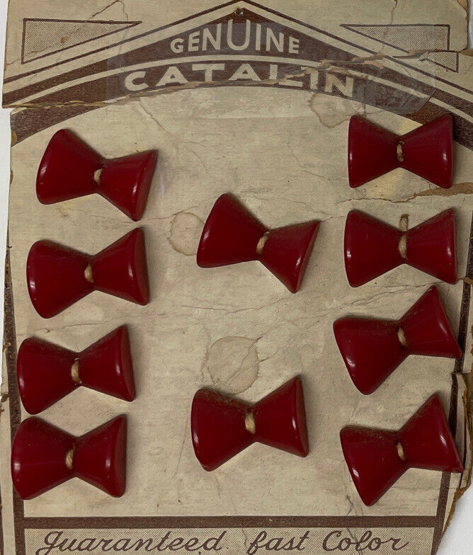Lot 10 Red Bow Genuine Catalin Bakelite Buttons on Original Sewing Board