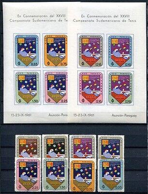 PARAGUAY 1961 Tennis 933-940 +A940-H940 + Block 6-9 ** MNH