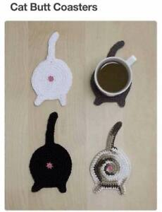 Crochet cat butt coaster for sale