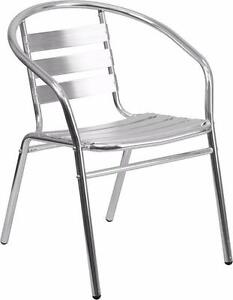 100 RESTAURANT INDOOR OUTDOOR ALUMINUM DINING CHAIR ARMCHAIR