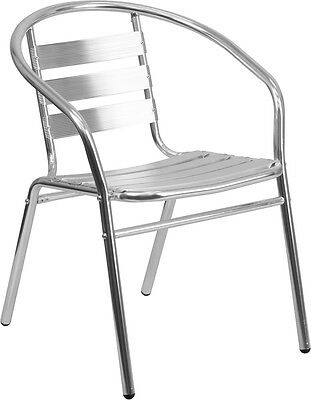 Flash Furniture Aluminum Slat Back Indoor-Outdoor Restaurant Chair