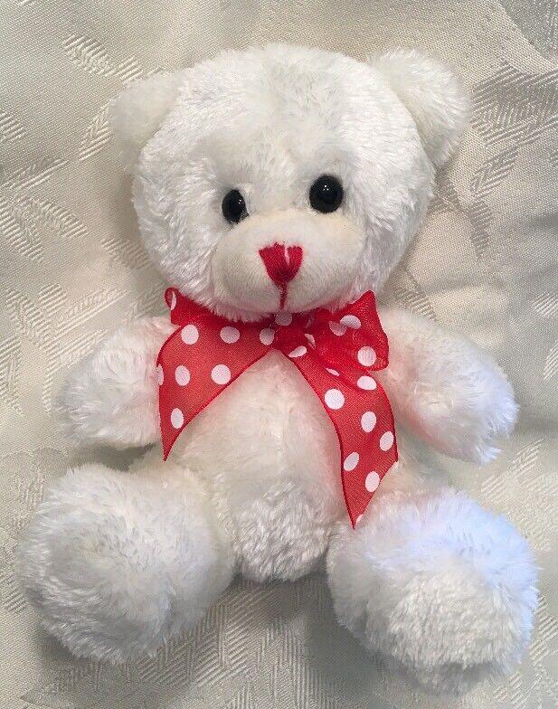 "Rare 6"" Burton & Burton White Teddy Bear Plush Red Ribbon Dot Stuffed Animal"