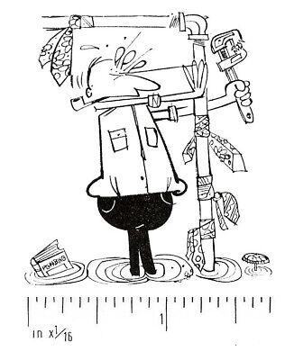 Vintage Letterpress Printers Block Plumbing Problems Cartoon