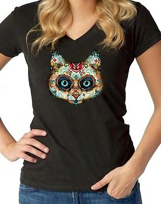 Sugar Skull Cat Women's V-Neck Day of the Dead Dia De Los Muertos Halloween Tees - Dia De Los Muertos Cat
