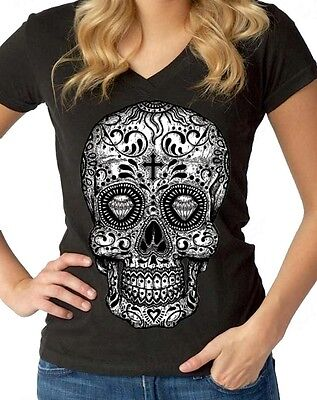 Sugar Skull B&W Women's V-Neck Day of the Dead Los Muertos Halloween T-Shirts](Day Of The Dead Women)