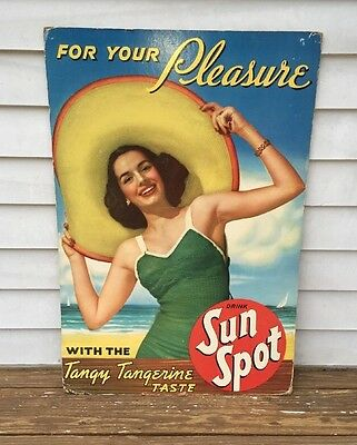 Super Rare Vintage Drink Sun Spot Cardboard Advertising Poster, Great Shape!