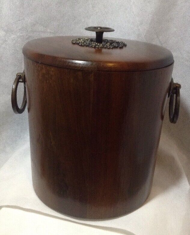 VINTAGE MID CENTURY VERMILLION SOLID WALNUT AND BRASS ICE BUCKET WITH INSERT