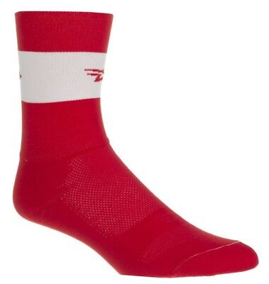 DeFeet Aireator Double-Cuff Cycling Socks. Air Team Red/White. Size Small Defeet White Cycling Socks