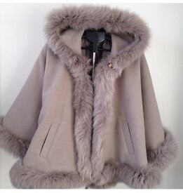 """""""Natalia"""" Cashmere Cape with the Real Silver fox fur size 6-22UK"""
