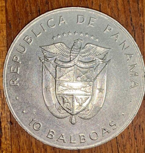 Old Republic De Panama 10 Balboas large coin 1978