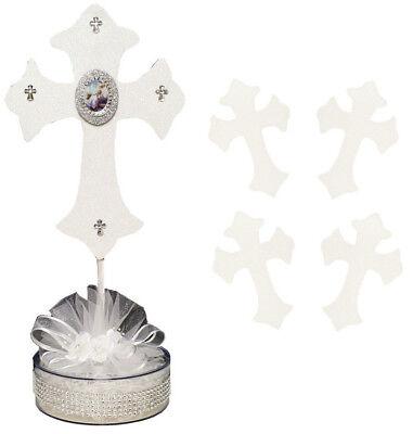 "12PC White 11"" Baptism Favor Centerpiece Decor Recuerdos Bautizo Foam Cross"