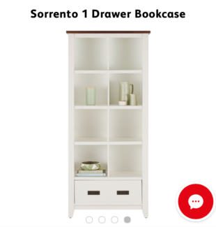 NEW SORRENTO 1 DRAWER BOOKCASE 8 CUBE .