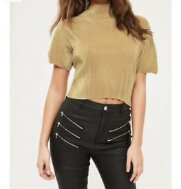 Missguided gold Pleated top